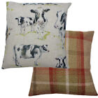 Cow Rust Checked Wool Effect Filled Country Animal Cushion