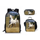 School Bag Horse Print 3 piece Backpack With Lunch Bags Pencil Case Shoulder Bag