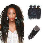 "4x4"" Lace Frontal w/3 Bundles Malaysian 8A Kinky Curly Virgin Human Hair 300G"