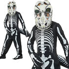 T-Rex Skeleton Costume Halloween Scary Boys Childrens Fancy Dress Outfit