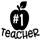 #1 Teacher Apple Vinyl Decal Sticker Home Wall Cup Decor Choose Size Color