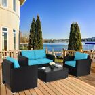 Outdoor Rattan Garden Furniture 4 Piece Set Chairs Armchair Sofa Coffee Table Us