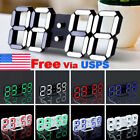 Modern Digital 3D White LED Wall Clock Alarm Clock Snooze 12/24 Hour Display US