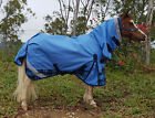 LOVE MY HORSE 600D 4'0 - 4'9 Mini Pony Rainsheet Combo Waterproof Horse Rug Blue