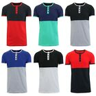 Mens Henley T-Shirt Short Sleeve Tee Lounge Slim Fit Crew Neck S M L XL XXL NEW image