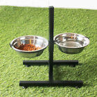 Stainless Steel 2 Dog Cat Pet Feeder Water Food Bowls Adjustable Stand Set C8U4D