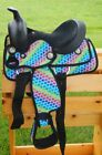 "Внешний вид - 10"" 12"" Rainbow Hearts Synthetic Children's Western Saddle with Headstall Set"