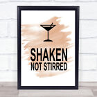 Watercolour James Bond Martini Shaken Not Stirred Quote Print £8.99 GBP on eBay