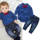 baby boys clothing set plaid rompers with bowtie + demin pants 2017 fashion baby