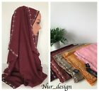 New design Woman plain pearls hijabs Cotton Viscose solid scarf 170x 70 cm