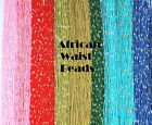 34-Inch African Waist Beads, Solid Colors Gold Silver Accents, Made in Ghana