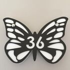 Butterfly House Number Sign - Mocha Brown & White Mat Finish