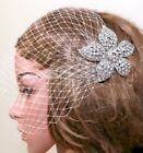 Bridal Comb Wedding Hair Accessories Crystal Flower Headpiece Birdcage Veil