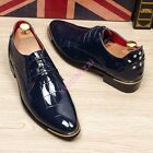 New Chic Hot Mens Rivet Pointed Toe Lace Up Shining Leather Dress Wedding Shoes