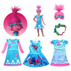 Child Trolls Poppy Troll Fancy Dress Costume & Wig Hair Kids Girl Cosplay Party image