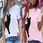 Womens Daily Cute Cat Print Ladies O Neck T-shirts Casual Loose Tops Blouse Tee