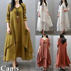 Sexy Women Peasant Ethnic Boho Cotton Linen Long Sleeve Maxi Dress Gypsy Dresses, used for sale  Shipping to Canada