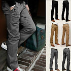 Mens Cargo Trousers Slim Casual Long Leisure Work Business Dress Pants Bottoms
