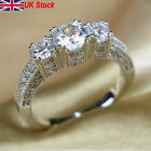 Uk Womens Sterling Silver Crystal Plantinum Engagement Gift Wedding Jewelry Ring