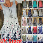 Womens Casual Sleeveless Beach Dresses Ladies Summer Loose Vest Mini Dress Size