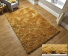 DAZZLE OCHRE MUSTARD YELLOW THICK 6cm LONG PILE GLITTER GOLD SPARKLE SHAGGY RUG