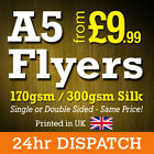 A5 Flyers Leaflets Printed Full Colour 170gsm 300gsm Silk - A5 Flyer Printing <br/> FREE Next Day Courier, Fast A5 Flyer Printing.