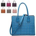 Ladies Stylish Studded Faux Leather Handbag Shoulder Bag Bucket Bag MF3906