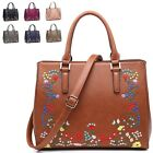 Ladies Faux Leather Floral Satchel Bag Embroidered Handbag Shoulder Bag M6971
