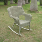 White Outdoor Resin Wicker Rocking Chair
