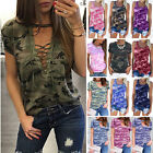 Womens Casual Camouflage T-Shirt CAMO Tops Summer Blouse Shi