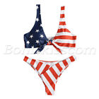 2pcs Women's American Flag Pattern Tie Knot Front Bikini Sets Swimwear Swimsuit