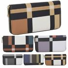 New Synthetic Leather Colour Blocks Design Ladies Large Wallet Purse