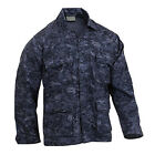 Midnight Navy Blue Digital Camo BDU Style SHIRT Military USAF USCG SWAT Police