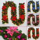 2.7m 220 Branches Decorated LED Garland Christmas Decor Xmas Fireplace Tree Pine