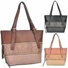 New Synthetic Leather Snakeskin Panel Zipper Decoration Ladies Shopper Bag