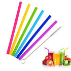 7PCS Reusable Straws Reusable Silicone Drinking Straw with Cleaning Brushes Set-