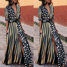 USA Women Summer Boho Long Maxi Dress Cocktail Party Beach Dresses Slit Sundress