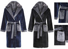 Boys Dressing Gown Fleece Hooded Childrens Robe Flannel Supersoft NavyBlue Black