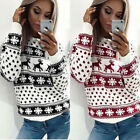 Women Long Sleeve Crew Neck Santa Reindeer Snowflake Shirts Pullover Tops Winter