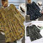 Womens Boho Casual Flower Printed Baggy Cotton Linen Blouse