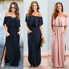 Womens Off The Shoulder Ruffle Party Dresses Side Split Beach Maxi Dress NEW LI
