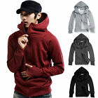 Mens Hoodie Long Sleeve Zip Up Jersey Hooded Jacket Coat Tra