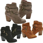 70e3b10a43a Womens Ladies Ankle Boots Low Mid Block Heels Buckle Casual Shoes Sizes US  6-10