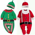 Baby Boy Girl First Christmas Xmas Santa Costume Outfit Dress Cloth Hat Cosplay