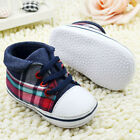 Newborn Baby Boy Girl Plaid Crib Shoes Toddler Lace Soft Sole Baby Casual Shoes