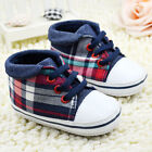 Newborn Baby Boy Girl Plaid Crib Shoes Toddler Lace Soft Sol