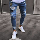 Mens Stylish Jeans Pants Denim Skinny Stretchy Destroyed Ripped Frayed Trousers