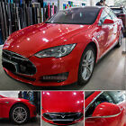 High Glossy Red Car Paint Change Bright Vinyl Wrap Film Sticker Bubbles Free CF