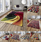 Modern High Density Thick Pile Area Rug Bright Multi Colours Sunrise Think Rugs