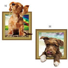 Wall Stickers Vinyl 3D Dog Listening To Music Bedroom Decal Home Mural Art Decor
